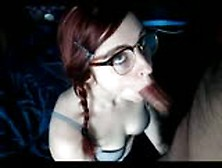 Braids And Glasses Redhead Nerd Giving A Blowjob