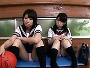 Petite Japanese Schoolgirls Cocksuck In Trio