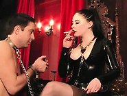 Smoking Femdom Mistress Dominates With Feet