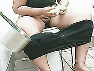 White Amateur Bbw Woman In The Restroom Filmed On Voyeur Video