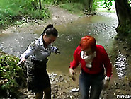 Couple Of Horny Chicks Get Horny And Start A Fight In Mud Lake