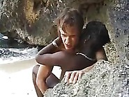 Black,  African Girl Is Having Sex On The Beach Not Knowing That