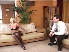 Hot Blonde Chelsea Zinn Wears Sexy Black Stockings And Gets Fuck