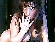Busty Brunette Amateur Babe Strips On Webcam And Sucks A Dildo