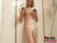 Tight Pussy Babe Pours Milk On Her Tiny Tits