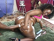 Ebony Lesbian Plumpers Get Oiled Up For Some Heavy Duty Toy Fuck