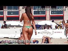 Perfect Latina Caught At The Beach In A Thong Bikini!