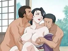 Anime Hottie In Kimono Fucked In Threesome