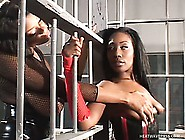 Lusty Black Lesbians In Latex Lick Chocolaty Pussy In The Jail C