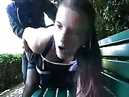 Brunette Amateur Gets It Doggy Style On A Park Bench