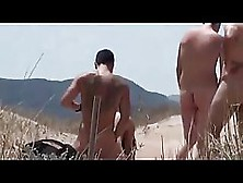 Hot,  Naked Woman And Some Guys She Met On The Beach Are Having G