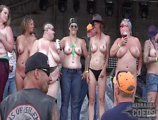 Biker Babes Topless On Stage Dancing For The Guys