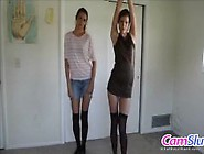 Sexy Skinny Sisters Do Teasing Striptease