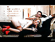 Saucy Blondie In Red High Heel Shoes Rides One Dick And Sucks Th