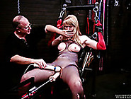 Tied Up To A Chair Blonde Gets Her Slit Fucked With Vibrator And