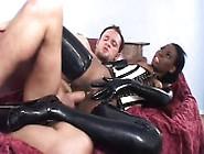 Buxom Black Slut In Latex Lady Armani Goes Wild For A Big White
