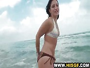 Beach Handjob And Flashing Turns Into Bedroom Bj
