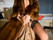 Julie In Mink Fur Coat At Home