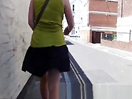 Wind Lifts Upskirt And Exposes Butt