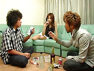 Svelte Pale Japanese Brunette Kisses Bf Passionately And Is Read