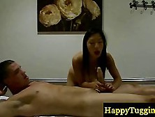 Petite Masseuse Is Gently Rubbing Her Client's Meat Stick,