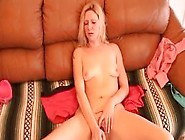 British Blonde In Panties Fingers Sticky Pussy And Smiles