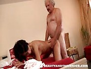 Senior Feeds A Teen With His Cock And Cum