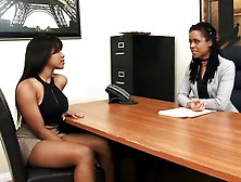 Two Sexy Black Lesbian Girls And A Lucky Sybian
