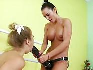 Lesbian Fun With Huge Dildo
