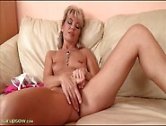 Old Lady With Tiny Tits Rubs Her Pussy