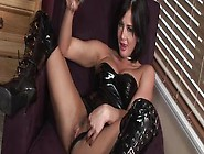Busty Brunette Pornstar In Latex Tory Lane Fingers Her Shaved Pu