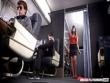 Sexy Stewardess August Ames Experiences Rough Group Sex