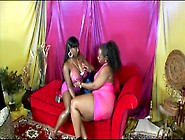 Two Oiled Up Plump Black Lesbians Toy Pussies