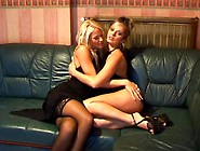 Girls In Sexy Black Dresses Hook Up In Lesbian Video