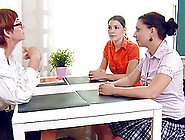 Two Female Students Have A Lesbian Moment With An Older Teacher
