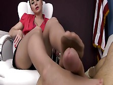 Sophisticated Lady In Nylon Stockings Dangling Her Shoe Before G