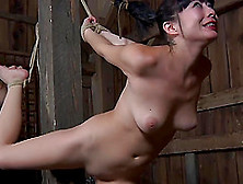 Bondage Cowgirl Spreading Legs When Worked On With Toy In Bdsm