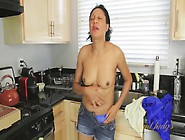 Dishwashing Mom Gets Naked In The Kitchen