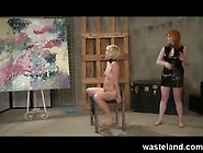 Femdom Punishing Her Female Sex Slave With A Lesson In Art Appre