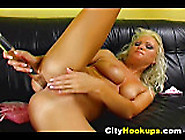 Sexy Blonde Hottie Pleasures Herself And Masturbates With A Long