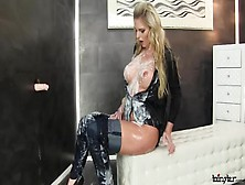 Tall Blonde Babe Covered In Thick Fake Cumshots