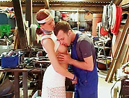 Lusty Redhead Babe Seduces The Worker In The Garage So They Fuck