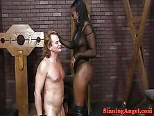 Ebony Mistress Queening Sub In Sexdungeon
