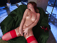 Red Haired Whore Sana Anzyu Masturbates In Sexy Red Stockings