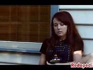 Cute Redhead Masturbating Outside
