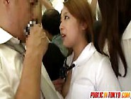 Schoolgirl Gives A Handjob On The Bus