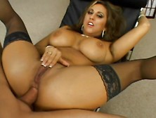 Hot Milf In Stockings Gets Anal On A Chair