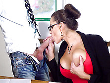 Busty Teacher Sensual Jane Pleases Younger Student With Blowjob