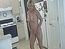 Hot White Milf Wife Naked Masturbating In The Kitchen