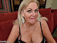 Big-Titted Blonde Granny Plays With Her New Purple Dildo